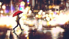 Crossing the street at night. Young woman listening to music on her phone and holding a red umbrella crossing a city street in the rainy night, digital art style royalty free illustration