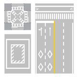 Crossing street. safety zone sign on street Stock Images