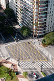 Crossing streets in sao paulo stock image