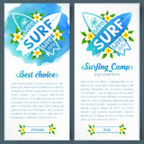 Crossing surfing boards logo in blue watercolor style background, vertical vector banners Stock Image