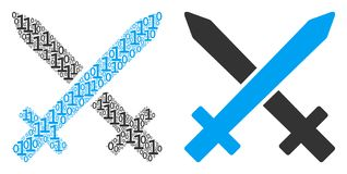 Crossing Swords Composition of Binary Digits. Crossing swords composition icon of zero and null digits in randomized sizes. Vector digital symbols are united Stock Photo