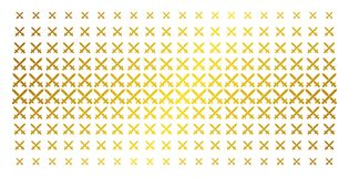 Crossing Swords Golden Halftone Grid. Crossing swords icon gold halftone pattern. Vector crossing swords symbols are arranged into halftone grid with inclined Royalty Free Stock Image