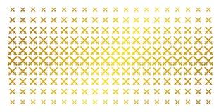 Crossing Swords Golden Halftone Grid. Crossing swords icon gold halftone pattern. Vector crossing swords symbols are arranged into halftone grid with inclined vector illustration