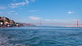 Crossing the Tagus River to Lisbon in a ferry Stock Images