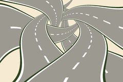 Crossing Tangled Roads Royalty Free Stock Images
