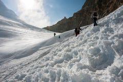 Crossing Tashi Lapcha pass, Rolwaling trekking region, Nepal Stock Image