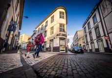 Crossing The Road In Ponta Delgada Stock Photos