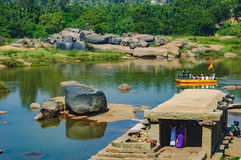 Crossing the Tungabhadra River in Hampi, India Royalty Free Stock Photos