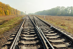 Crossing of two railroad Royalty Free Stock Photography