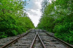 Crossing of two railroads Royalty Free Stock Photo