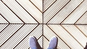 Crossline with feets. My shoes and geometry and cross line Stock Images