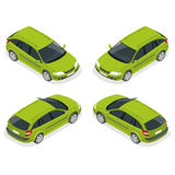 Crossover-Fahrzeug lokalisiert auf Weiß Flache isometrische Illustration 3d Stockfotografie