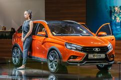 Crossover Lada Vesta Cross Concept. Moscow, Russia - August 27, 2015. Crossover Lada Vesta Cross Concept. Crocus Expo. International exhibition of SUVs Royalty Free Stock Images