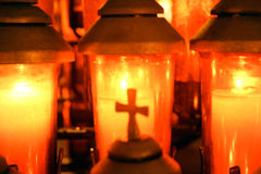 Crossprayercandle Stock Photo
