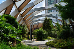 Crossrail roof gardens. The new Crossrail station in London, Canary Wharf designed by Foster Partners includes tropical roof gardens and a leisure complex. North Stock Photo