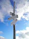 Crossroad. Signpost in cold winter nature Royalty Free Stock Image