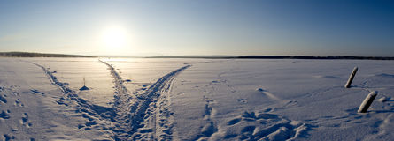 Crossroad. On the ice of lake, Russia Stock Photos