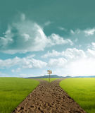 Crossroad. Dirt in rural landscape in sunset time Royalty Free Stock Images