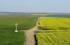 Crossroad. Cross at crossroad in the country side Stock Photography