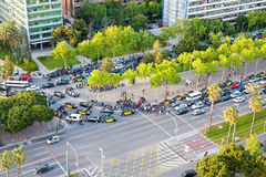 Crossroad on avenue Diagonal in Barcelona Stock Photos