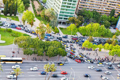 Crossroad on avenue Diagonal in Barcelona Stock Image