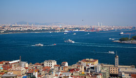 The crossroad of Bosphorus strait and Golden Horn in Istanbul Stock Photo