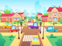 Crossroad with cars. City suburb traffic jam, street crosswalk with traffic lights and road intersection cartoon vector vector illustration