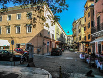 Crossroad in the center of corfu. In Dionisiou Solomou street Royalty Free Stock Photography