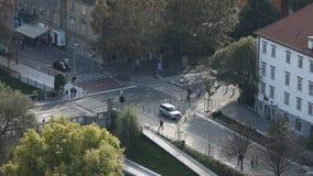 Crossroad in city Ljubljana. Capital of Slovenia stock video