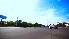 Crossroad with city transport. Low Angle Fisheye stock video footage
