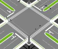 The crossroad. 3d generated picture of a simple crossroad Royalty Free Stock Photo