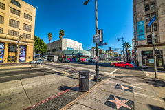 Crossroad in Hollywood blvd and Sycamore ave Royalty Free Stock Images