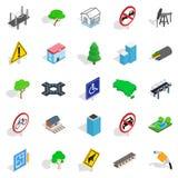Crossroad icons set, isometric style Royalty Free Stock Photos