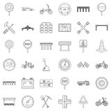 Crossroad icons set, outline style Stock Photo