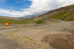 Crossroad in mountain - Iceland Royalty Free Stock Image