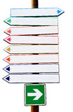 Crossroad Multicolor Directional Arrow Signs. Copy space isolated on white background Stock Photo