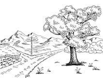 Crossroad pathway graphic black white landscape sketch illustration Stock Images