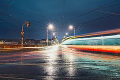 Crossroad in rainy night Stock Photos
