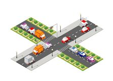 Crossroad road isometric. 3D city street with cars, trees, urban infrastructure stock illustration