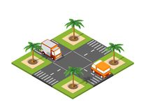 Road isometric 3D city. Crossroad road isometric 3D city street with cars, trees, urban infrastructure royalty free illustration