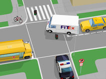 Crossroad scene. City traffic view, in Royalty Free Stock Photo