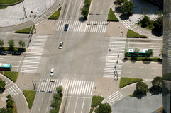 Crossroad in Shenzhen. China, Guangdong province, Shenzhen city. Crossroad view from high building Stock Photography
