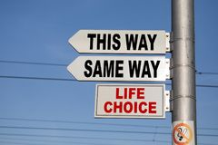 Crossroad signpost saying this way, same way, confusion or decisions royalty free stock images
