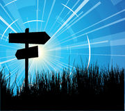 Crossroad with sun Royalty Free Stock Images