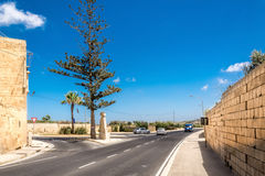 Crossroad to Victoria in Malta. Crossroad on Gozo island in Malta Stock Images