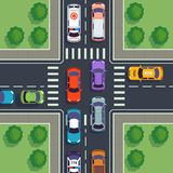 Crossroad top view. City car traffic top viewing house road from above street cars building asphalt sidewalk roof. Crossroad top view. City car traffic top royalty free illustration
