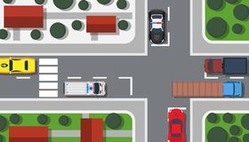 Free Crossroad Top View Vector Illustration Building Map. City Car Game Landscape Traffic Urban. Pedestrian Background Transport Stock Photo - 162189180