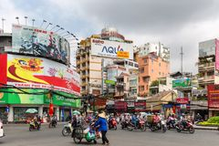 Crossroad traffic in Ho Chi Minh Stock Images