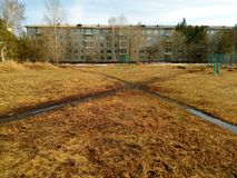 Crossroad of two roads. Spring season. stock photos