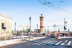 Crossroad on Vasilievsky Island in St Petersburg royalty free stock images